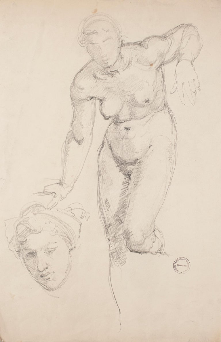 """Nude is a wonderful original pencil drawing on paper, realized by the French artist Paul Garin (Nice, 1898-1963) between the beginning and the middle of XX century.  With a black ink stamp on the lower right corner: """"Catherine Charbonneux"""