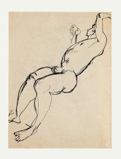 Nude - Original China Ink Drawing - Mid 20th Century