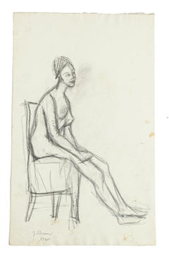 Nude - Original Pencil Drawing by Jeanne Daour - 1940