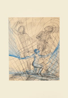 Flying - Original Pencil and Watercolor on Paper by M. Rouzée - 1950s