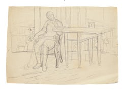 Figure in Interior - Original Pencil Drawing by Jeanne Daour - 1940