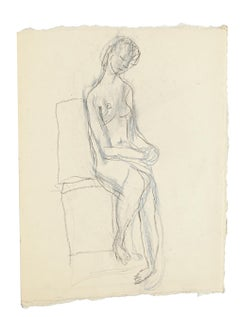Seated Nude - Original Pencil and Pastel Drawing by Jeanne Daour - 1950s
