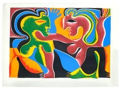 Lovers - Original Screen Print by Fritz Baumgartner - 1975