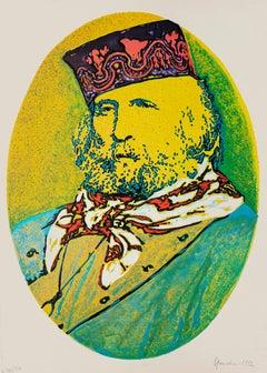 Portrait of Giuseppe Garibaldi - Original Screen Print by G.G. Spadari - 1982