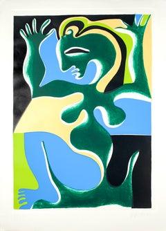 Woman - Original Screen Print by Fritz Baumgartner - 1975