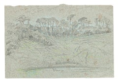 Landscape - Original Charcoal Drawing by French Master mid 1900