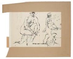 Nude  - Original Ink Drawing by Sergio Barletta - 1959