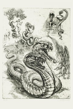 Serpent - Original Etching by M. Chirnoaga - Late 20th Century
