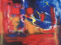 Red and Blue Composition - Acrylic on Plywood by M. Goeyens - 2000s