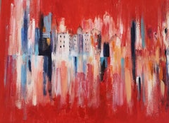 Red Landscape - Acrylic on Canvas by M. Goeyens - 2000s