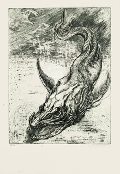 Sea Dragon - Original Etching by M. Chirnoaga - Late 20th Century