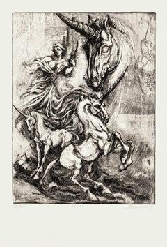 Unicorn - Original Etching by M. Chirnoaga - Late 20th Century