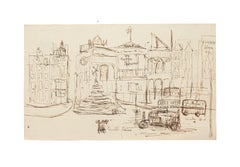 London Piccadilly Circus - Original China Ink Drawing - Early 20th Century