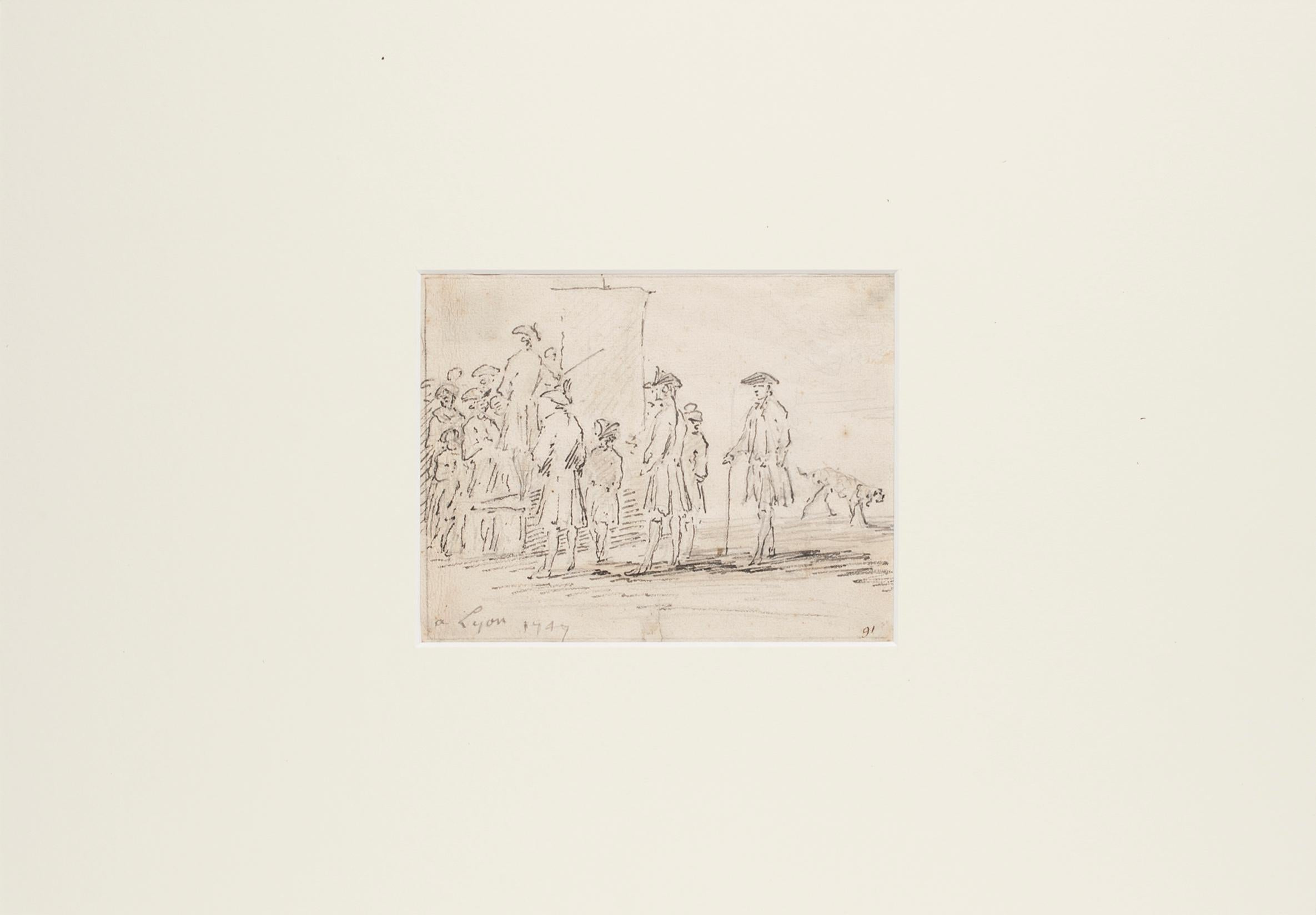 Speech - Original China Ink Drawing by Jan Pieter Verdussen - Mid 1747