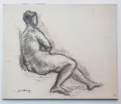 Nude - Original Charcoal Drawing by S. Goldberg - Mid 20th Century