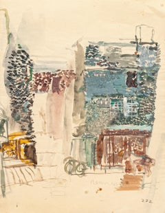 View of Rennes - Original Watercolor Drawing by Jeanne Daour - Mid 20th Century