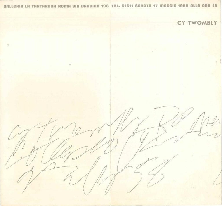 Vintage Cy Twombly Exhibition Leaflet - 1958 - Art by (after) Cy Twombly