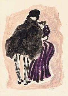 Figures - Original Watercolor on Paper - 1920s