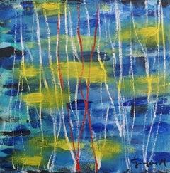 Water Lights - Original Acrylic on Panel by M. Goeyens - 21th Century