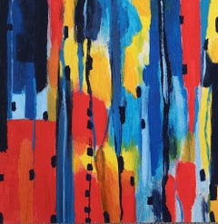 Tricolor Composition - Original Acrylic on Panel by M. Goeyens - 21th Century