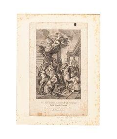 Saints John and Paul - Original Etching by Achille Parboni - 1820
