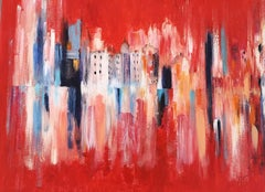 Landscape in Red - Acrylic on Canvas by M. Goeyens - 2014