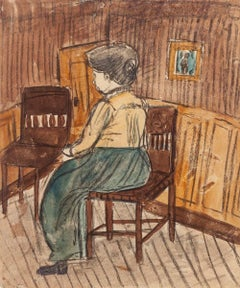 Interior with Figure - Pastel and Watercolor Drawing - Early 20th Century