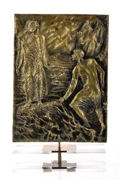 Dante Meets Virgil - Original Bronze Sculpture by P. Fazzini - Late 20th Century