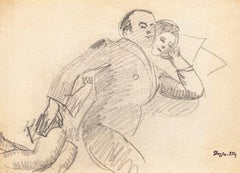 Sleeping Couple - Pencil  Drawing by J. Dreyfus-Stern - Early 20th Century