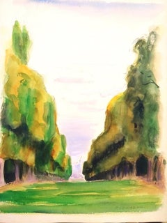 The Tree-Lined Avenue - Original Watercolor on Paper by Pierre Segogne - 1930s