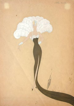Miss Tapsy - Original Pencil, Markers and Tempera by Erté - 1940s
