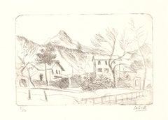 Landscape - Original Etching by Alberto Salietti - 1930s