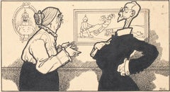 The Discussion - Original China Ink by Carlo Rivalta - 1914