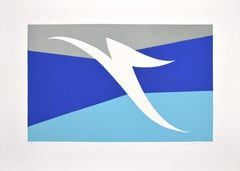 Abstract Blue Composition - Original Screen Print by A. Fanfani - 1972