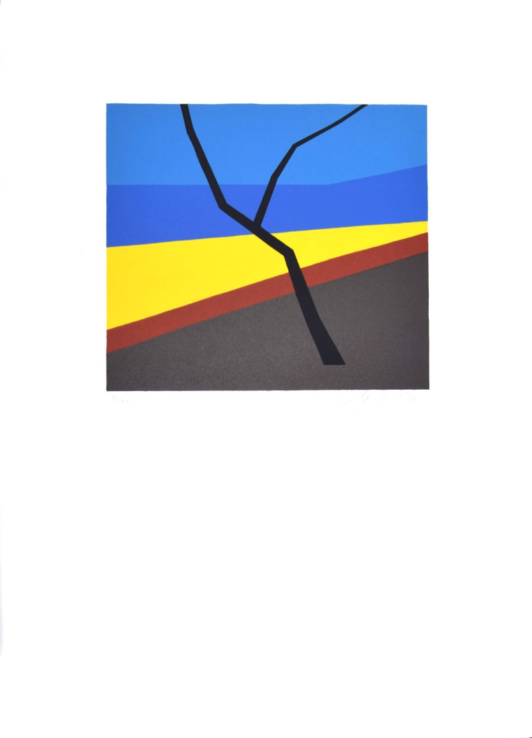 Abstract Composition - Original Screen Print by A. Fanfani - 1972 - Black Abstract Print by Amintore Fanfani