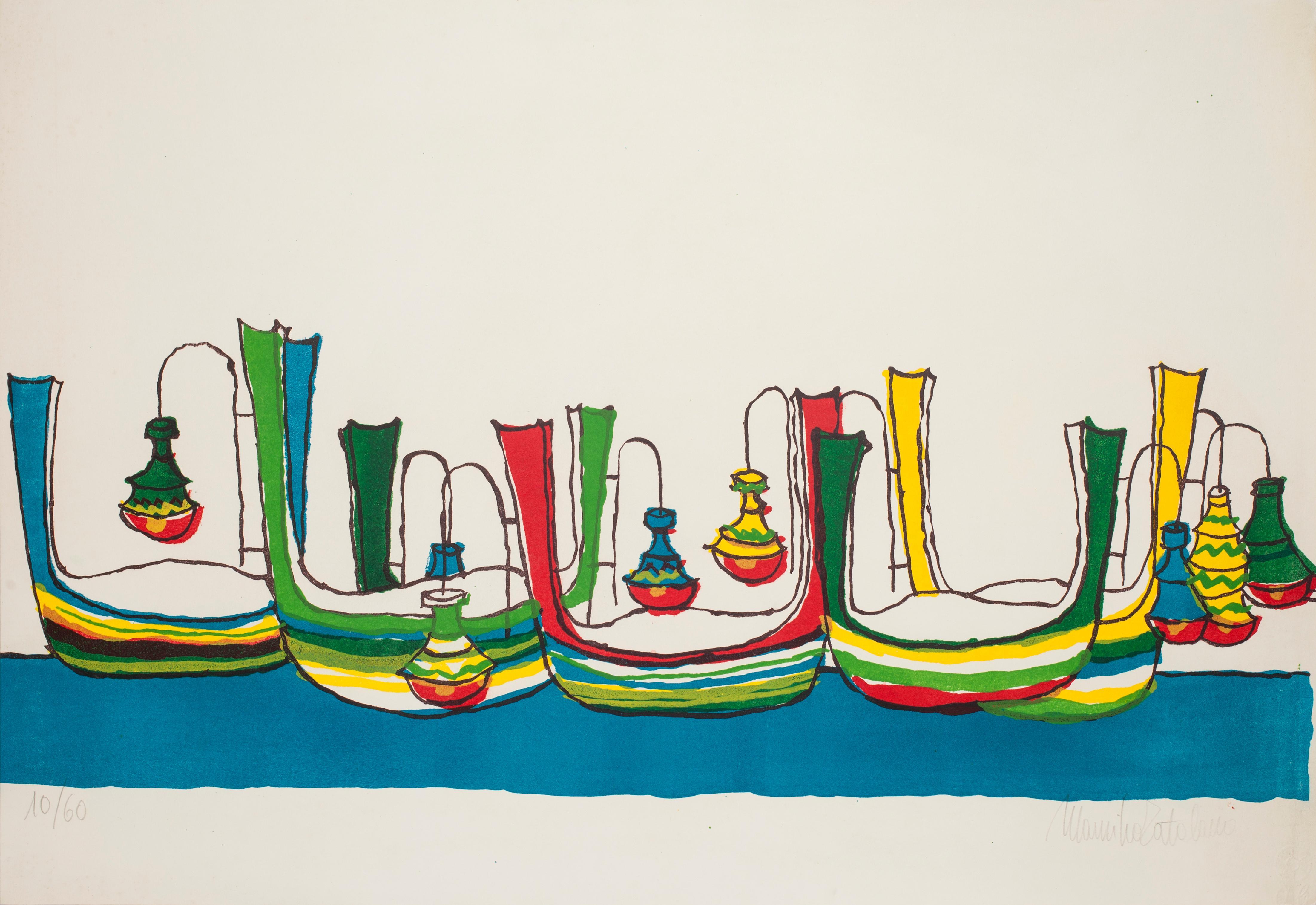 Gondolas - Original Lithograph by Maurilio Catalano - 1970s