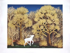 Deer in the Forest - Original Lithograph by Ivan Generalic - 1950s