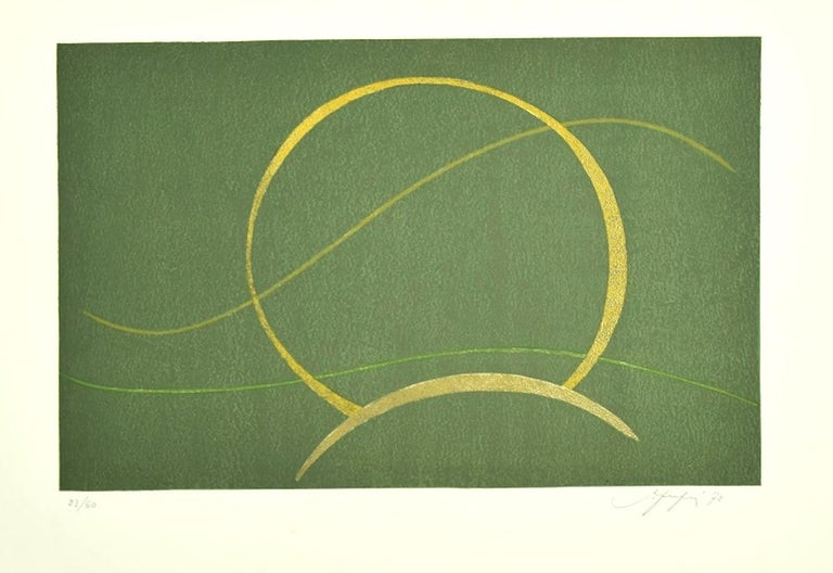 Amintore Fanfani Abstract Print - Composition - Original Screen Print by A. Fanfani - 1972