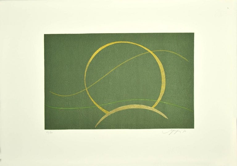 Composition - Original Screen Print by A. Fanfani - 1972 - Gray Abstract Print by Amintore Fanfani