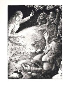 The Paradise - Divine Comedy Canto V -  Original Etching by P. Cesaroni - 1983