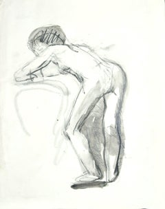 Nude - Original Charcoal and Watercolor Drawing - Mid 20th Century