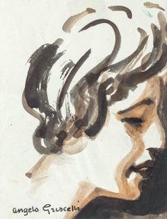 Portrait - Original Watercolor by Angelo Griscelli - 1950s