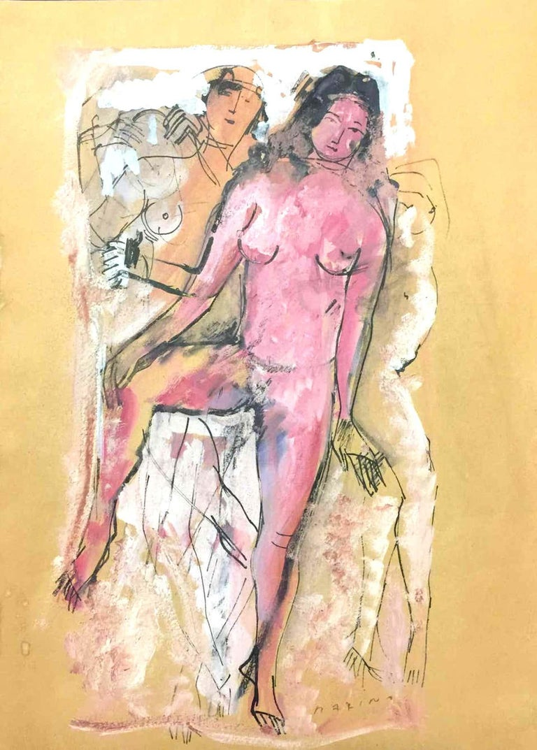 China ink, pastel, tempera and watercolor on paper realized in the 1930s. Hand Signed lower right. Includes certificate of authenticity by the Fondazione Marino Marini signed by Maria Teresa Tosi. Archived in the Marino Marino Archives in