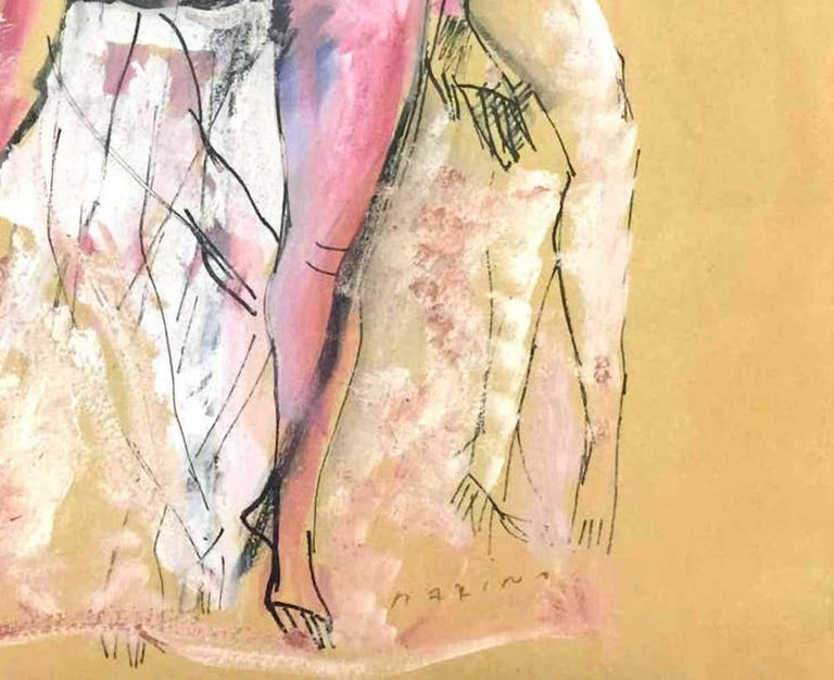 Nude of Woman - Original Mixed Media by Marino Marini - 1930s For Sale 1
