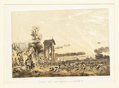 Defense of the Cemetery in Magenta - Original Lithograph by Carlo Perrin - 1860