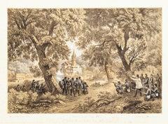 Attacco a San Fermo da Garibaldi - Lithograph by Carlo Perrin - 1860