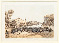 Defense of Varese by Garibaldi - Lithograph by Carlo Perrin - 1860