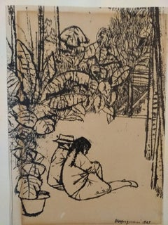 Couple of Figures in the Nature - China Ink Drawing by Renzo Vespignani - 1949