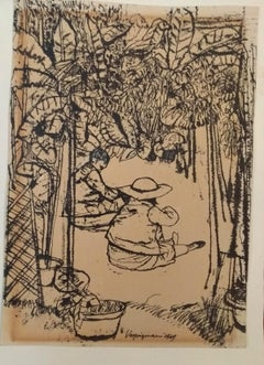 Children in the Garden - China Ink Drawing by Renzo Vespignani - 1949