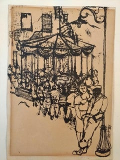 The Carousel - China Ink Drawing by Renzo Vespignani - 1949